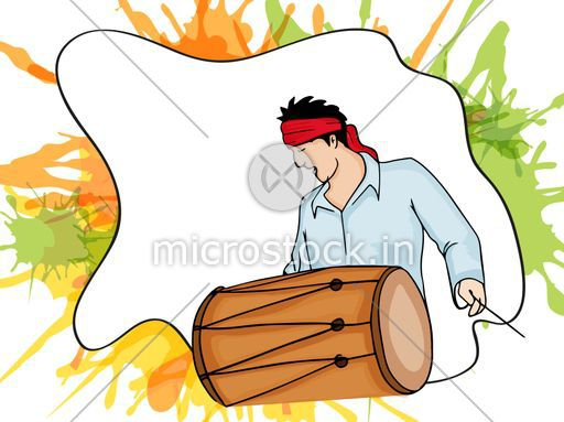 Young Man Playing Drum On Splash Background For Indian Festival Of Colors Holi And Dolyatra