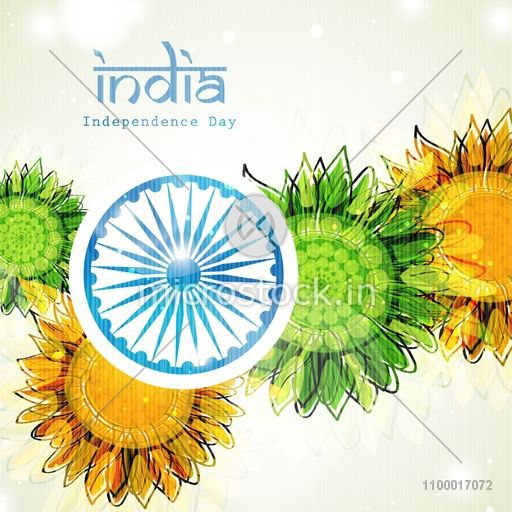 Shiny ashoka wheel on beautiful saffron and green colour for 15th august independence day decoration ideas
