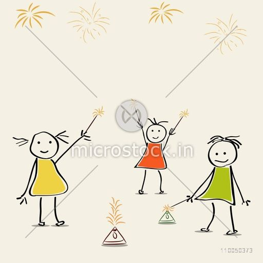 Illustration of small girls playing with crackers  in comic way.