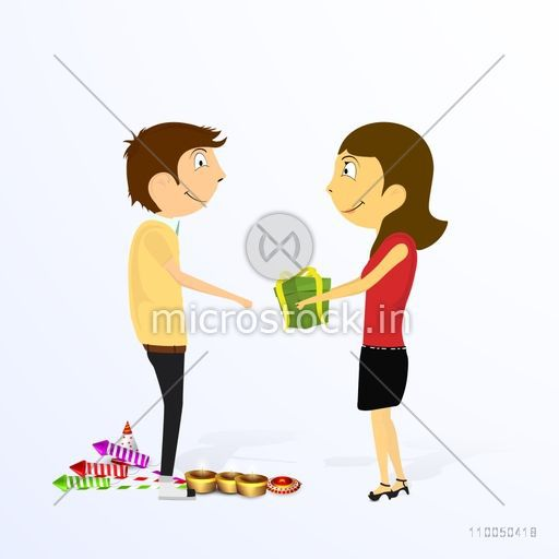 Illustration of a cute girl giving gift to a cute boy for Diwali celebration with crackers and lit lamps.