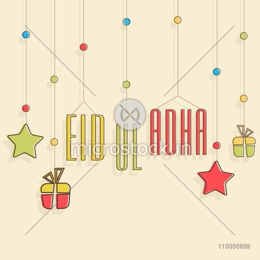 Celebration of Eid-Ul-Adha with hanging gift, stars and stylish text of Eid-Ul-Adha on skin colour background.