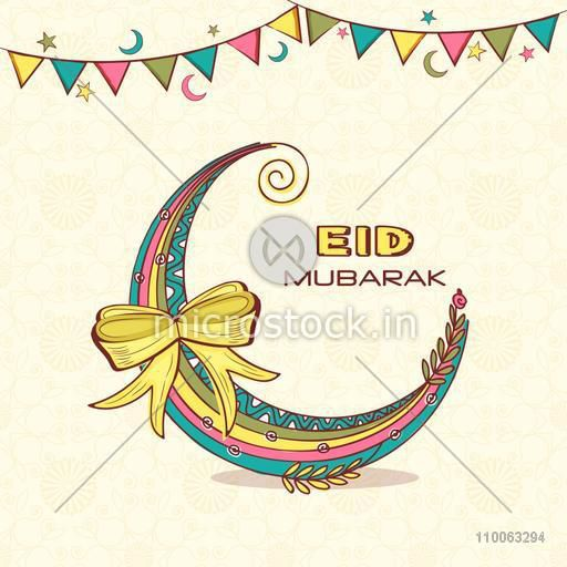 Colorful creative moon with ribbon for muslim community festival, Eid Mubarak celebration, can be used as greeting card or party invitation card.