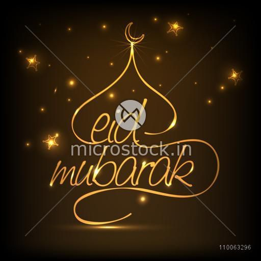 Golden creative text Eid Mubarak with illustration of mosque on stars decorated brown background.