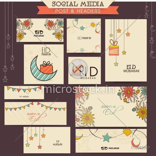 Creative colorful social media and marketing post, headers, banners or ads for muslim community festival, Eid celebration.