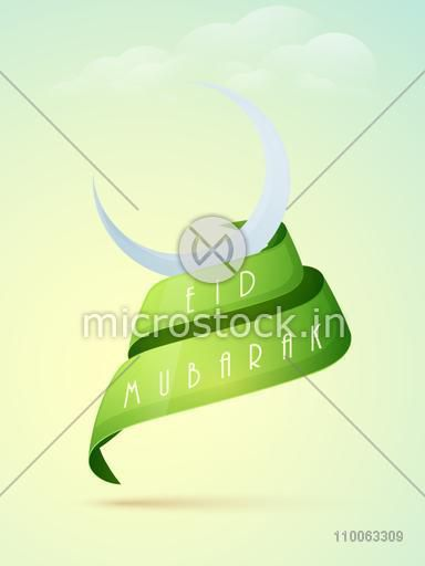 Stylish crescent moon with text Eid Mubarak on glossy green ribbon for muslim community festival celebration on cloudy background.
