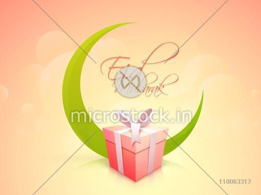 Glossy gift box with green crescent moon on shiny colorful background for muslim community festival, Eid Mubarak celebration.