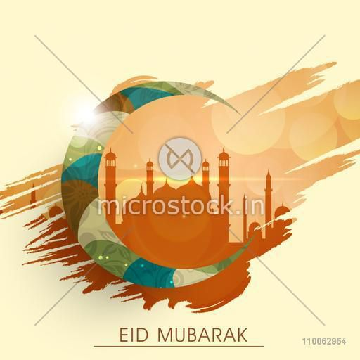 Creative crescent moon on Mosque silhouette background for Muslim community festival, Eid Mubarak celebration.