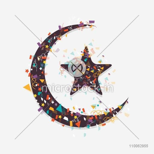 Colorful ribbons decorated crescent moon with star on grey background for Muslim community festival, Eid Mubarak celebration.