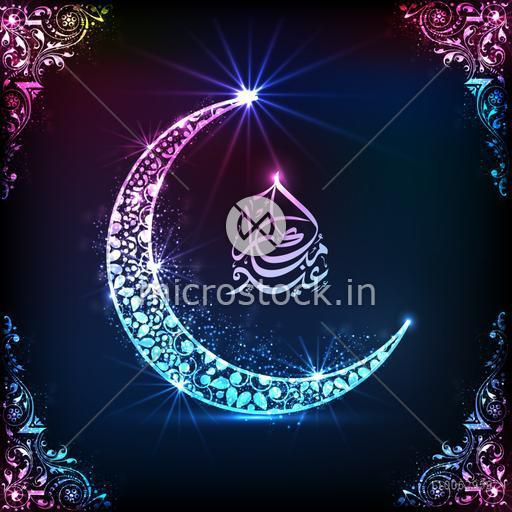 Beautiful shiny moon with Arabic Islamic calligraphy of text Eid Mubarak on floral design decorated blue background.