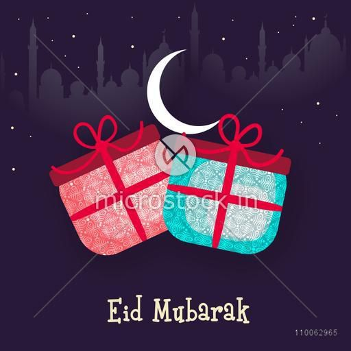 Muslim community festival, Eid Mubarak celebration with floral design decorated gifts in night view on Mosque silhouette background.