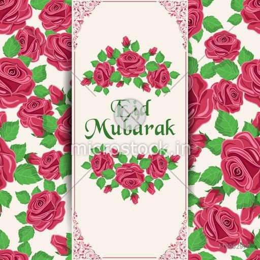 Beautiful greeting card design decorated with rose flowers for Muslim community festival, Eid celebration.
