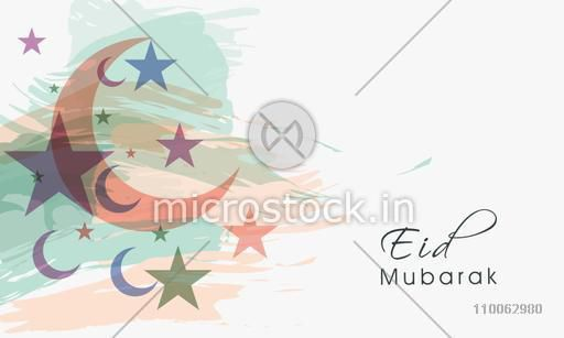 Elegant greeting card design decorated with crescent moons and stars on paint stroke background for Eid Mubarak celebration.