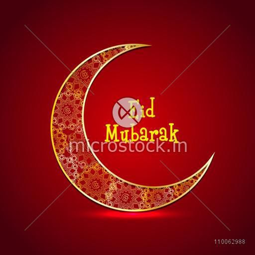 Beautiful floral design decorated golden crescent moon on shiny background for Muslim community festival, Eid celebration.