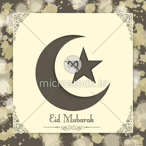 Glossy crescent moon with star for Muslim community festival, Eid celebration.