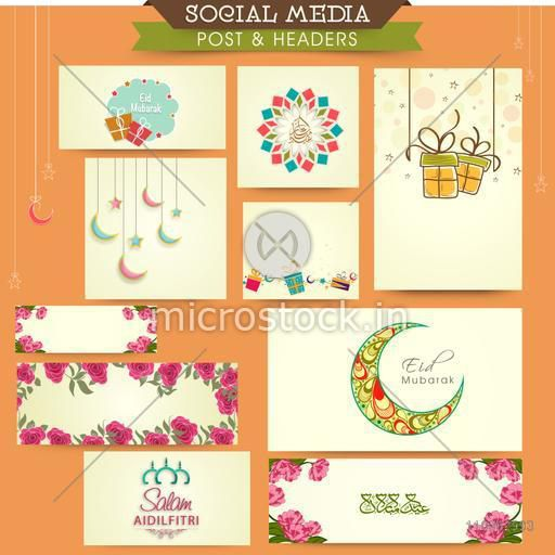 Social media ads, post and header set with various Islamic elements for Muslim community festival, Eid celebration.
