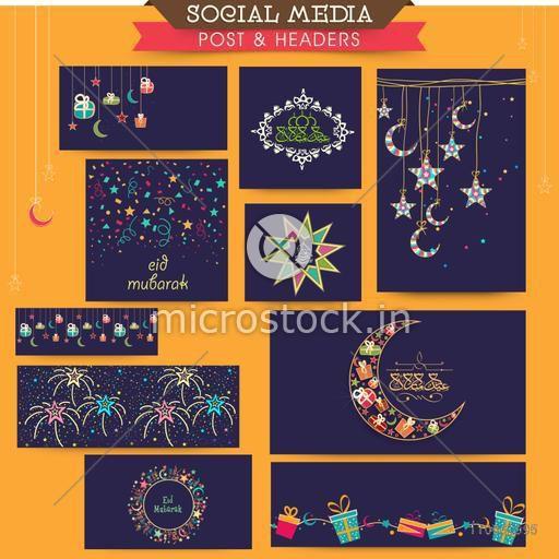 Colorful Islamic elements decorated social media post and header set for Muslim community festival, Eid celebration.