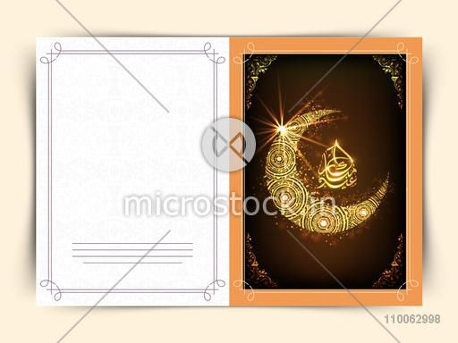 Golden crescent moon and Arabic Islamic calligraphy of text Eid Mubarak for Muslim community festival celebration, can be used as greeting or invitation card design.