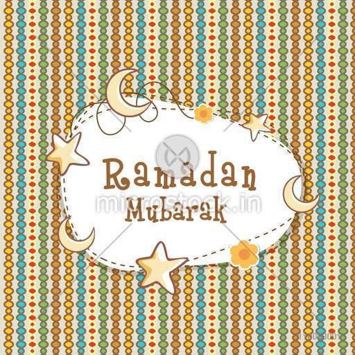 Elegant greeting card design decorated with crescent moons and stars for holy month of Muslim community, Ramadan Mubarak celebration.