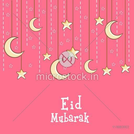 Islamic festival, Eid celebration greeting card design decorated with hanging crescent moons and stars on pink background.
