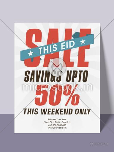 Sale poster, banner or template with limited time discount offer upto 50% for muslim community festival, Eid celebration