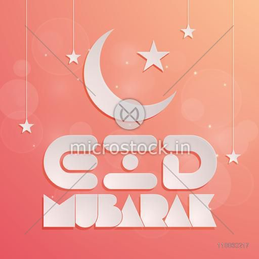 Beautiful greeting card design decorated with crescent moon, hanging stars and stylish text Eid Mubarak on shiny background for Muslim community festival celebration.