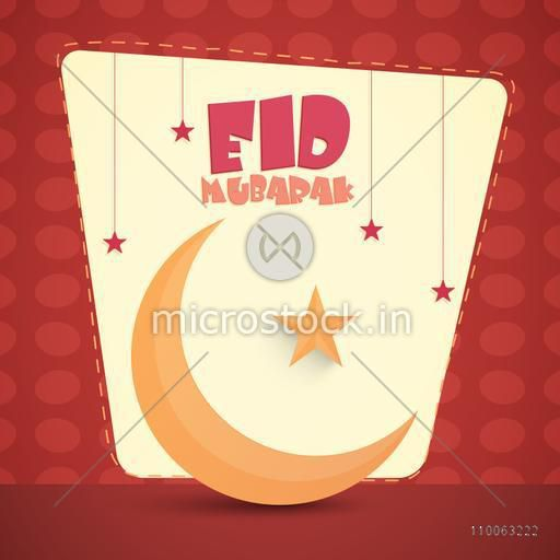 Elegant greeting card design decorated with glossy moon and hanging stars on red background for Muslim community festival, Eid celebration.
