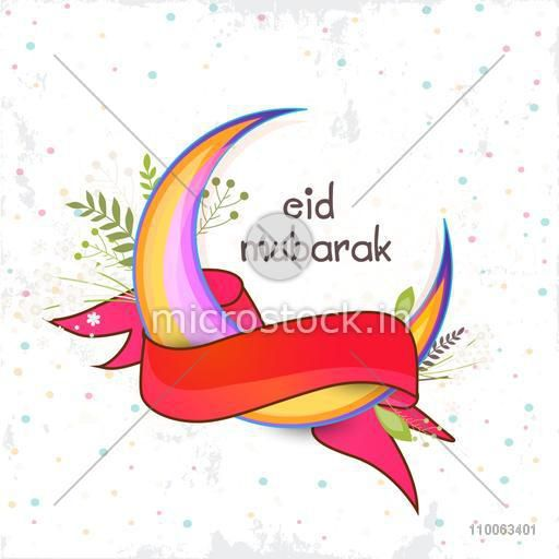 Colorful creative moon covered by red ribbon for muslim community festival, Eid Mubarak celebration on grungy decorated background.