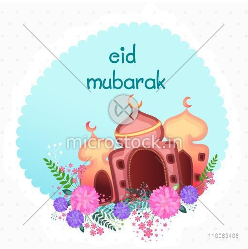 Colorful creative illustation of mosque with flowers in a frame for muslim community festival, Eid Mubarak celebration.