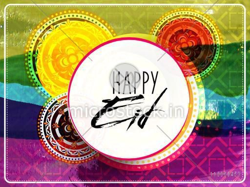 Sticker, tag or label with text Eid Mubarak on colorful creative background for muslim community festival celebration.