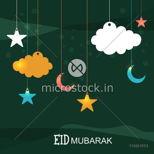 Shiny hanging crescent moons, stars and clouds on green background for Islamic famous festival, Eid Mubarak celebration.