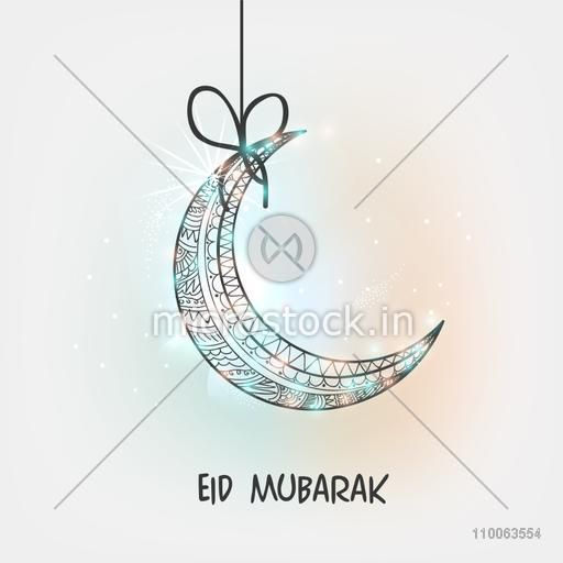 Beautiful floral design decorated crescent moon hanging on shiny background for Muslim community festival, Eid celebration.