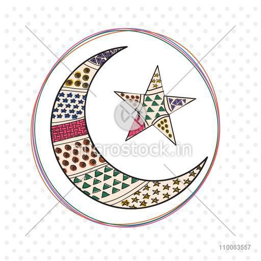 Stylish decorative crescent moon with star in rounded frame for Muslim community festival, Eid celebration.