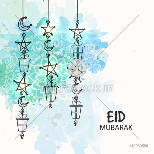 Elegant greeting card with hanging crescent moons, stars and gifts on floral design decorated background for Islamic festival, Eid celebration.