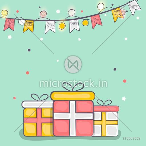 Elegant greeting card design with gifts and buntings decorations for Islamic festival, Eid celebration.