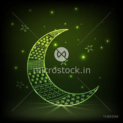 Beautiful green crescent moon decorated by different shapes on stars decorated shiny background for Muslim community festival, Eid celebration.