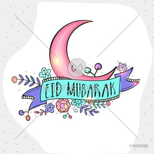 Shiny pink moon with stylish text Eid Mubarak on floral design decorated ribbon, can be used as greeting or invitation card for Muslim community festival celebration.