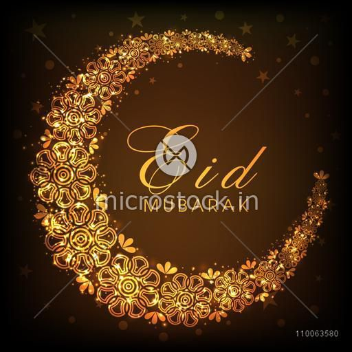 Glowing floral design decorated beautiful golden crescent moon on brown background for Islamic holy festival, Eid celebrations.