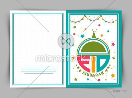 Beautiful greeting card decorated with colorful text Eid Mubarak, stars and buntings for Muslim community festival celebration.