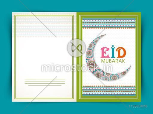 Beautiful greeting card design decorated with floral crescent moon for Muslim community festival, Eid celebration.