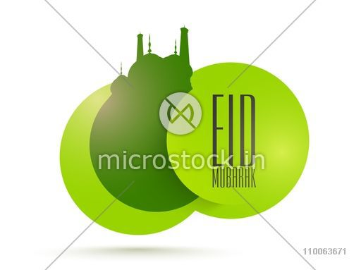 Shiny creative sticky design with mosque in green color for Islamic festival, Eid Mubarak celebration.
