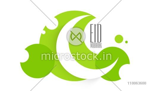 White crescent moon on green abstract background for muslim community festival, Eid Mubarak celebration.