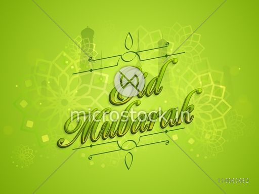 Glossy text Eid Mubarak on floral decorated, mosque silhouette background for muslim community festival celebration.