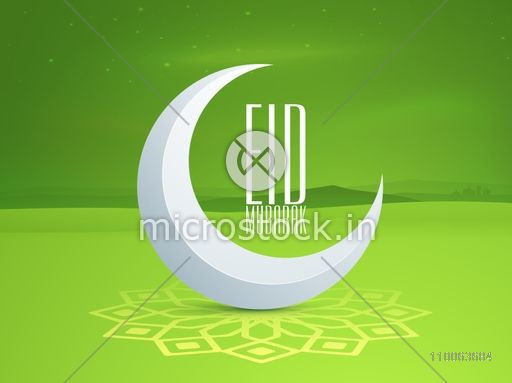 Muslim community festival, Eid Mubarak celebration with glossy crescent moon on floral decorated green background.