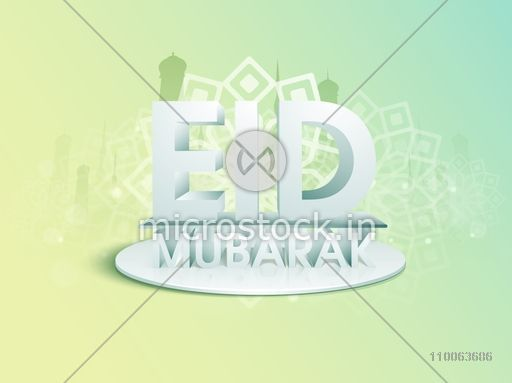 Glossy 3D text Eid Mubarak on stage with silhouette of mosque for muslim community festival celebration.