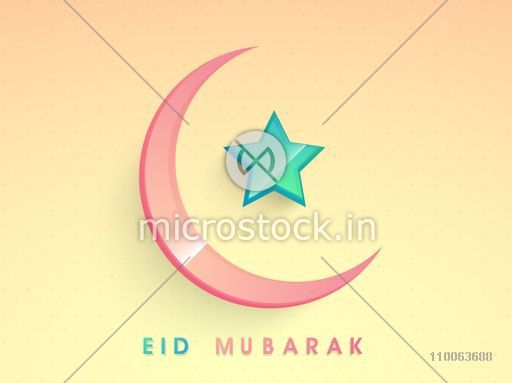Glossy crescent moon and star on colorful background for muslim community festival, Eid celebration.