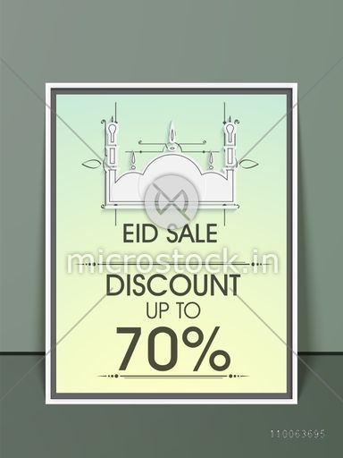 Stylish sale flyer, banner or template with discount offer and mosque for muslim community festival, Eid celebration.