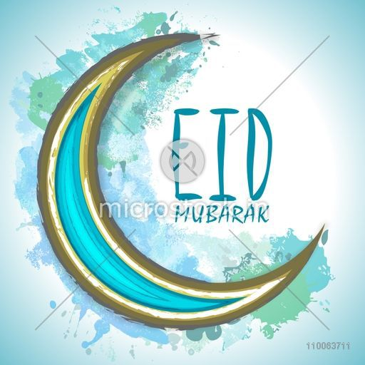 Creative crescent moon on color splash background for famous festival of Muslim community, Eid Mubarak celebration.