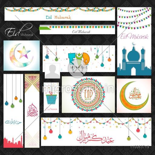 Social media post, header or banner set decorated with various beautiful Islamic elements for Muslim community festival, Eid Mubarak celebration.