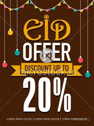 Colorful lights and buntings decorated Eid Offer template, banner or poster design with 20% discount on brown background.