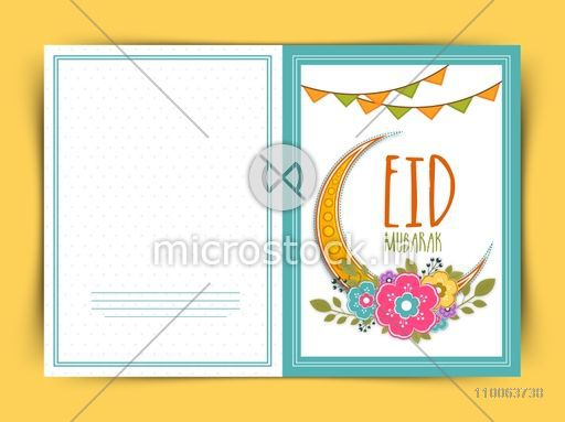 Elegant greeting card design decorated with golden crescent moon, colorful flowers and buntings for holy festival of Muslim community, Eid Mubarak celebration.